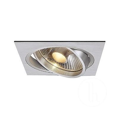 New Tria I ES111 downlight, kwadratowa, aluminium szczotkowane - Oprawa wpuszczana Spotline 111381
