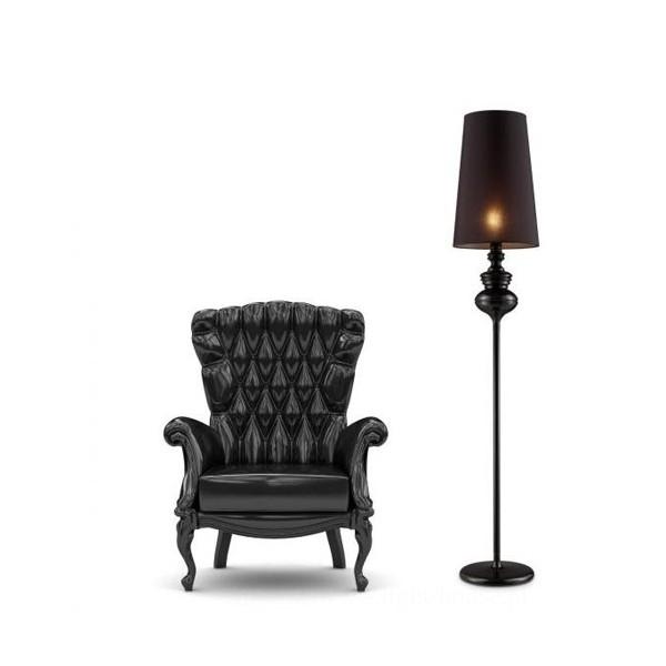 Baroco Czarna Azzardo Lampa Podłogowa Glamour Czarna Styl