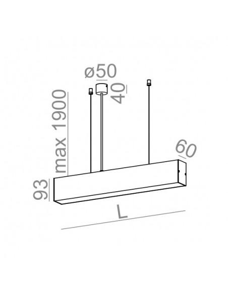 SET TRU 114 LED zwieszany AQForm - Lampa wisząca prostokątna kwadratowa profil LED 54553