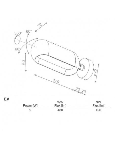equilibra angle move DIRECT EV LED WW kinkiet  -  Kinkiet LED Aquaform (20076EV)
