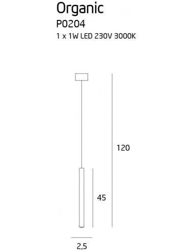 ORGANIC I BLACK P0203 Lampa wisząca LED tuba czarna rurka sopel MAXlight P0203