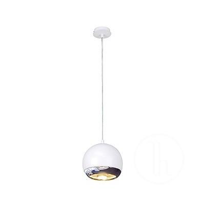 Light Eye lampa wisząca z rozetą, ES111, biała + chrom - Lampa wisząca Spotline 133481